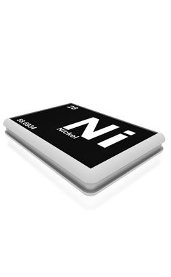 Nickel block showing  Ni for its designation in the periodic table.