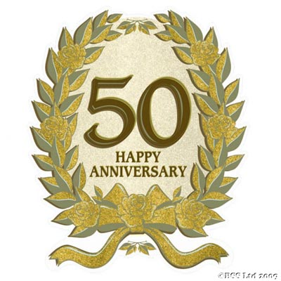 Large 50th Anniversary Glitter Cut-out
